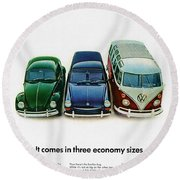 1967 Volkswagen Beetle Squareback And The Box Round Beach Towel