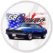 1968 Camaro Stars And Stripes Round Beach Towel