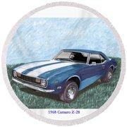 1968 Chevrolet Camaro Z 28 Round Beach Towel