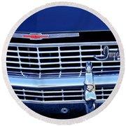1968 Chevrolet Impala Ss Grille Emblem Round Beach Towel