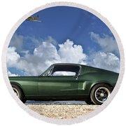 1968 Ford Bullitt Mustang Gt 390 Fastback, P-51 Mustang, Plymouth Rock Chicken Round Beach Towel