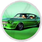 1968 Ford Mustang Fastback II Round Beach Towel