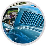 1968 Ford Mustang Fastback In Blue Round Beach Towel