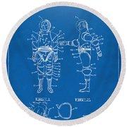 1968 Hard Space Suit Patent Artwork - Blueprint Round Beach Towel by Nikki Marie Smith