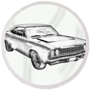 1968 Plymouth Roadrunner Muscle Car Illustration Round Beach Towel