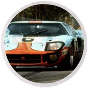 1969 24 Hours Of Le Mans Ford Gt40 First Place, Mixed Media  Round Beach Towel