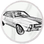 1969 Amc Javlin Car Illustration Round Beach Towel