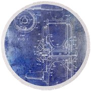 1969 Fly Reel Patent Blue Round Beach Towel