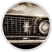 1969 Ford Mustang Grille Emblem -0129s Round Beach Towel