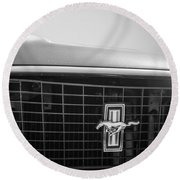 1969 Ford Mustang Grille Emblem -0133bw Round Beach Towel