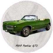 1969 Green Pontiac Gto Convertible Round Beach Towel