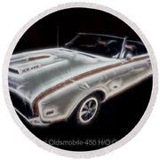 1969 Hurst Oldsmobile 455 Ho Electric Round Beach Towel