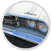 1969 Mercury Montego Mx Grille With Headlights And Logos Round Beach Towel