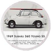 1969 Subaru 360 Young Ss - Creme Round Beach Towel