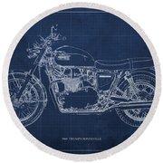 1969 Triumph Bonneville Blueprint Blue Background Round Beach Towel