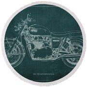 1969 Triumph Bonneville Blueprint Green Background Round Beach Towel