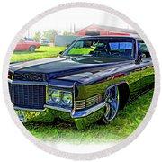 1970 Cadillac Deville - Vignette Round Beach Towel