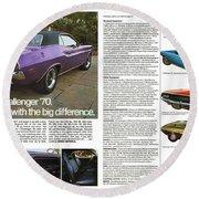 1970 Dodge Challenger Round Beach Towel