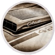 1970 Ford Mustang Mach 1 Fastback Cobra Jet 428 Hood Emblem -0611s Round Beach Towel