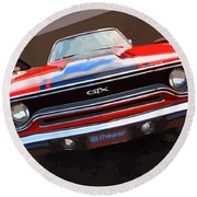 1970 Plymouth Gtx Vectorized Round Beach Towel