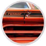 1970 Plymouth Road Runner - Vitamin C Orange Round Beach Towel by Gordon Dean II