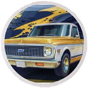 1971 Chevrolet C10 Cheyenne Fleetside 2wd Pickup Round Beach Towel