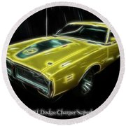 1971 Dodge Charger Superbee - Electric Round Beach Towel