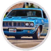 1971 Plymouth 'cuda 383 Round Beach Towel