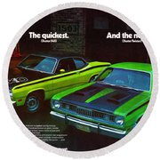 1971 Plymouth Duster 340 And Twister Round Beach Towel