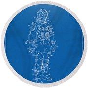1973 Astronaut Space Suit Patent Artwork - Blueprint Round Beach Towel
