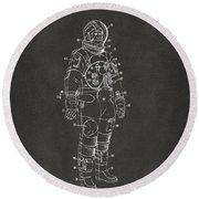 1973 Astronaut Space Suit Patent Artwork - Gray Round Beach Towel