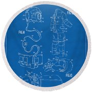1973 Space Suit Elements Patent Artwork - Blueprint Round Beach Towel by Nikki Marie Smith