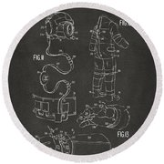 1973 Space Suit Elements Patent Artwork - Gray Round Beach Towel by Nikki Marie Smith