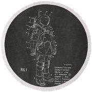 1973 Space Suit Patent Inventors Artwork - Gray Round Beach Towel
