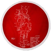 1973 Space Suit Patent Inventors Artwork - Red Round Beach Towel