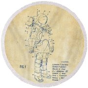 1973 Space Suit Patent Inventors Artwork - Vintage Round Beach Towel by Nikki Marie Smith