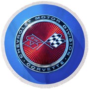 1974 Corvette Sting Ray Convertible Emblem Round Beach Towel