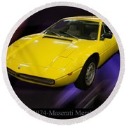 1974 Maserati Merak Round Beach Towel