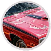 1974 Plymouth Road Runner 340 Round Beach Towel
