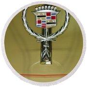 1976 Cadillac Eldorado Convertible Hood Ornament Round Beach Towel