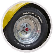 1976 Canary Yellow Vette Wheel Round Beach Towel