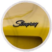 1976 Corvette Stingray Side Emblem Round Beach Towel