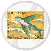 1984 Vietnam Flying Fish Postage Stamp Round Beach Towel