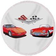 1986 And 1961 Corvettes Round Beach Towel