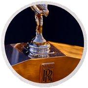 1986 Rolls-royce Hood Ornament Round Beach Towel