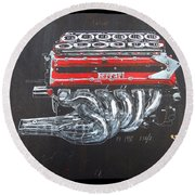 1990 Ferrari F1 Engine V12 Round Beach Towel