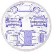 1990 Porsche 911 Patent Blueprint Round Beach Towel