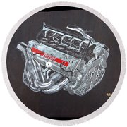 1996 Ferrari F1 V10 Engine Round Beach Towel