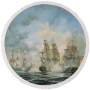 19th Century Naval Engagement In Home Waters Round Beach Towel by Richard Willis