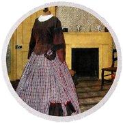 19th Century Plaid Dress Round Beach Towel